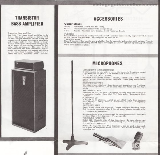 Vox catalogue from late 1962 - the T60 amplifier