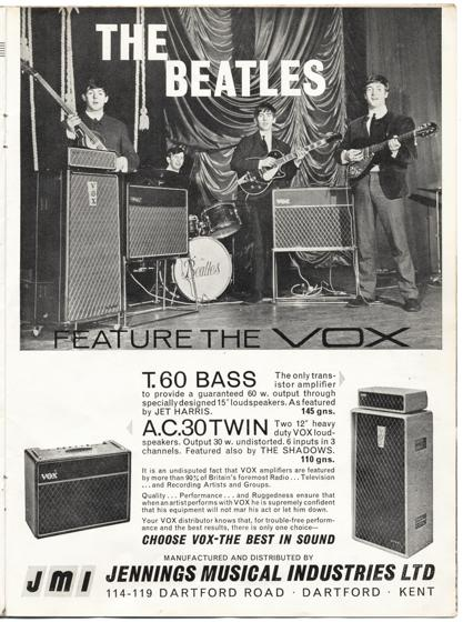 Vox full page in Beat Monthly magazine, June 1963