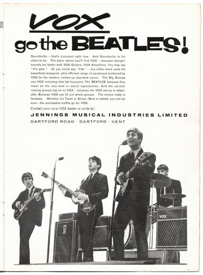 Vox full page in Beat Monthly magazine, December 1963